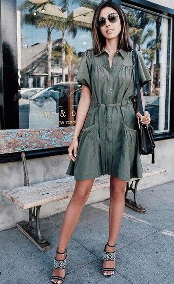 Vestido camisero verde, ideal para primavera. SS 16