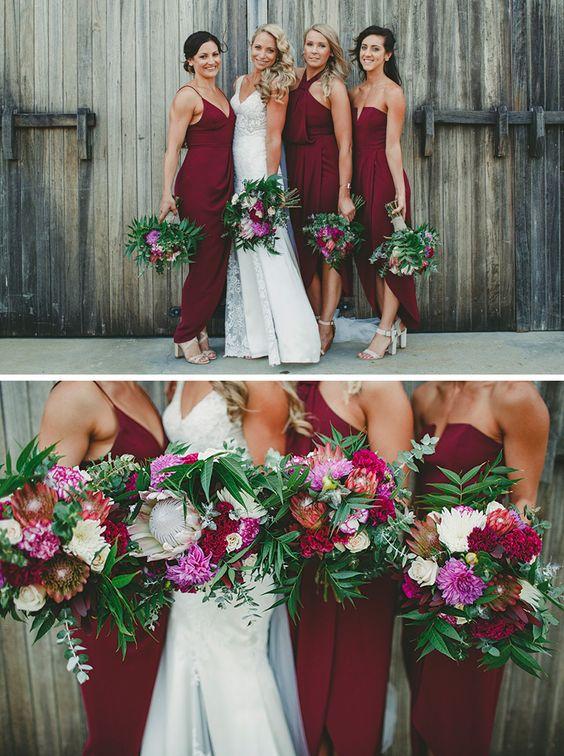 Modern burgundy bridesmaid dresses with textured Protea wedding bouquets | LiFe Photography | See more: http://theweddingplaybook.com/wedding-playbook-magazine-volume-10/