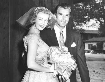 Here's a wedding day photo of one of today's b'day celebrants, actress Arlene Dahl 'hitched' then to Fernando Lamas in 1954 - Lamas would later marry 'swimming actress' Esther Williams.