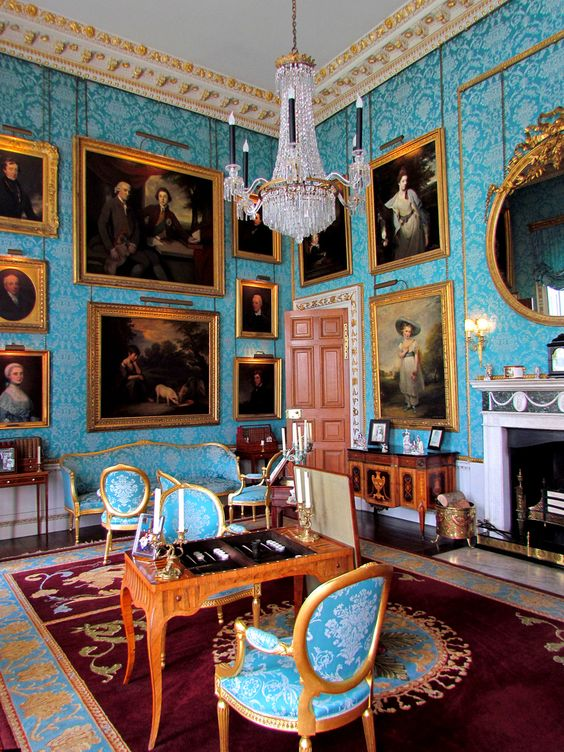 Castle Howard-the interiors of 10 rooms were used in BBC production of 'Death comes to Pemberley'. This is the turquoise drawing room - what a diorama this might make!: