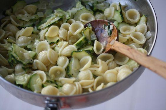 creamy zucchini orechiette with basil and lemon