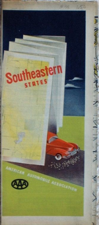 http://ajunkeeshoppe.blogspot.com/  ROAD MAP 1948 Triple A Routes Of 19 States South Eastern United States AAA
