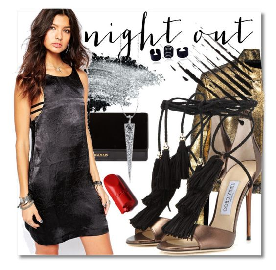 """""""Night out"""" by drerak ❤ liked on Polyvore featuring Balmain, Gorgeous Cosmetics, One Teaspoon, Raoul, Jimmy Choo, MyStyle, fashionset and Fashiondesigners"""