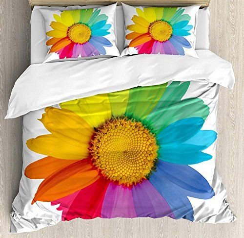 Bedding Printed Duvet Cover Set Floral 4 Piece King Size Rainbow