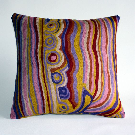 Wool cushion cover by Aboriginal artist Mary Anne Nampijinpa Michaels