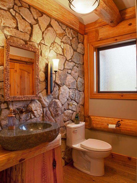 log home designfor the small bathroom rock walllove it