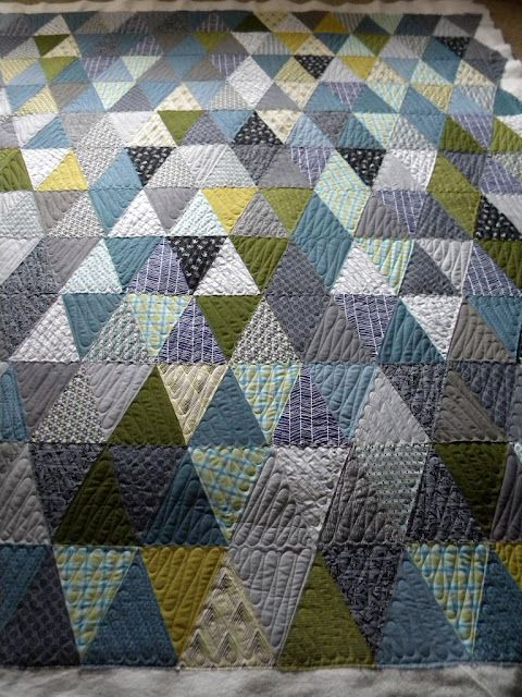 Triangles with lots of quilting.