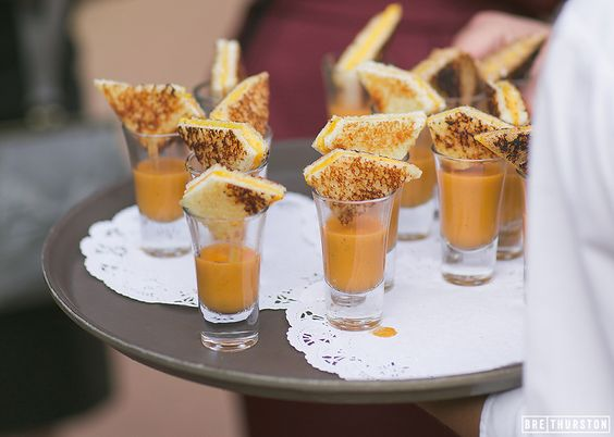 Mini grilled cheese with tomato soup is a wedding appetizer your guests will love | Bre Thurston Photogrpahy: