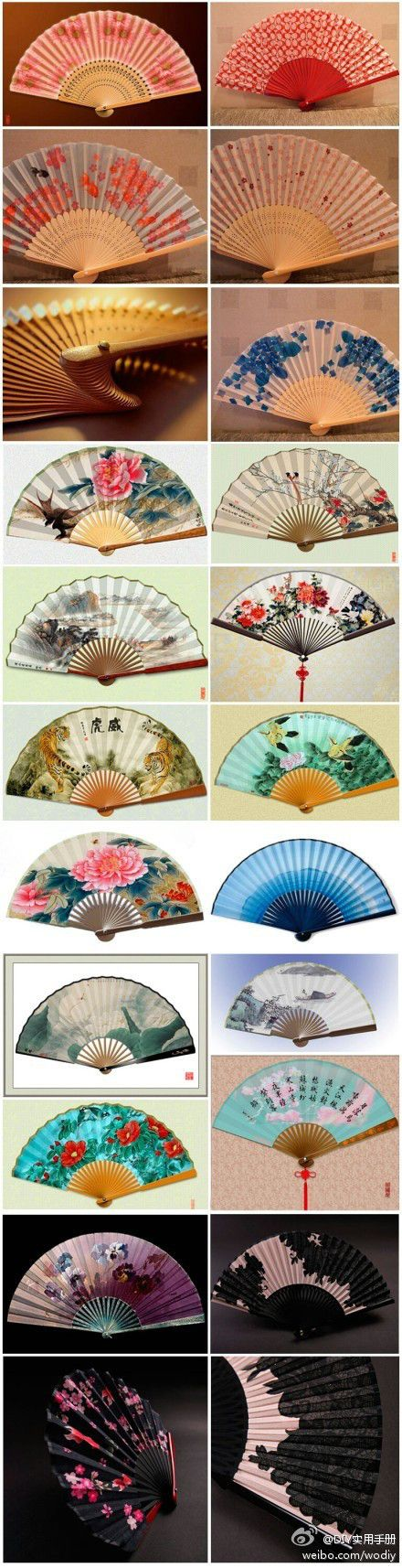 miniature printable oriental style fans - could be framed and hung in library