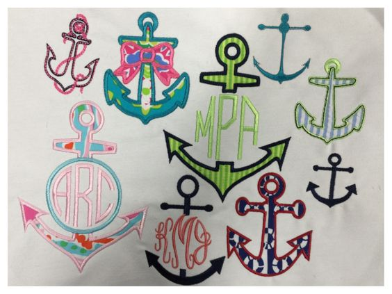 Anchor monogram designs -- perfect for summer
