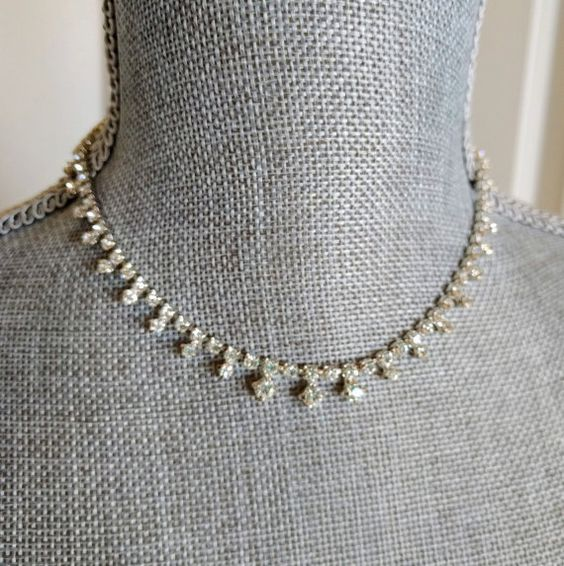 Vintage Necklace, New With Tags, Rhinestone Choker, Clear Crystals, Original Box, Talbot's, Ca. 1990s, Holiday, Stocking Stuffer