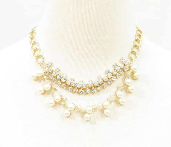 PEARL AND IVORY STONE BUBBLES GOLD CHAIN NECKLACE