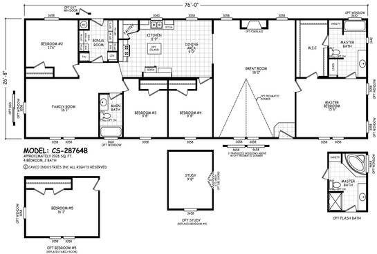 Cs 28764b Line Drawing Floor Plans Manufactured Homes Floor Plans Modular Home Floor Plans