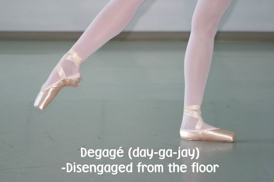 degage- pointing of the foot to an open position with an arched instep slightly off the floor (45 degrees):
