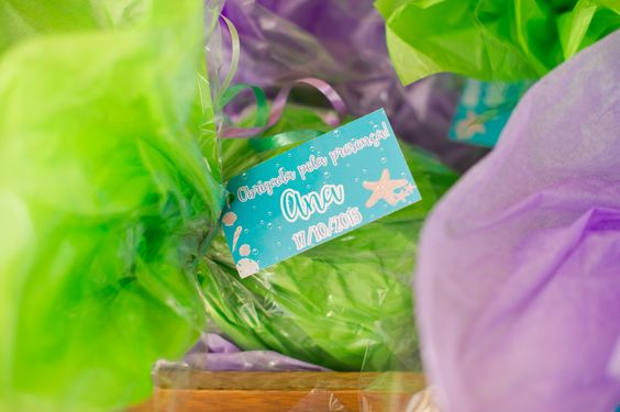 """Birthday party favors and """"thank you for coming"""" cards. Under the sea birthday party - Ana turned 1!"""