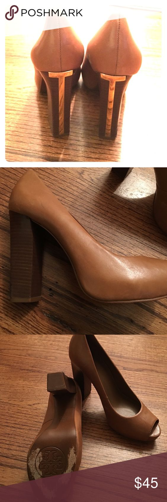 Tory Burch pumps Nude Tory Burch Cantrell Pump 2012. Size 8- worn a few times. Leather isn't saffiano so there are some scratches/scuff marks and discoloration. Heel about 4 inches. Tory Burch Shoes Heels