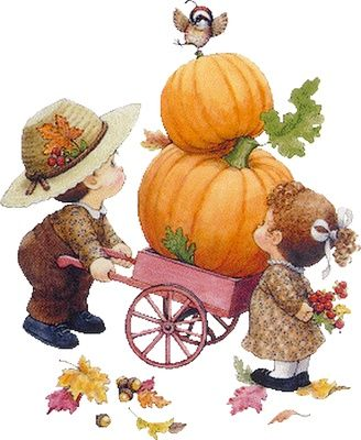 Ruth Morehead artist ~ boy pushing cart with pumpkins ~ girl with berries ~ autumn