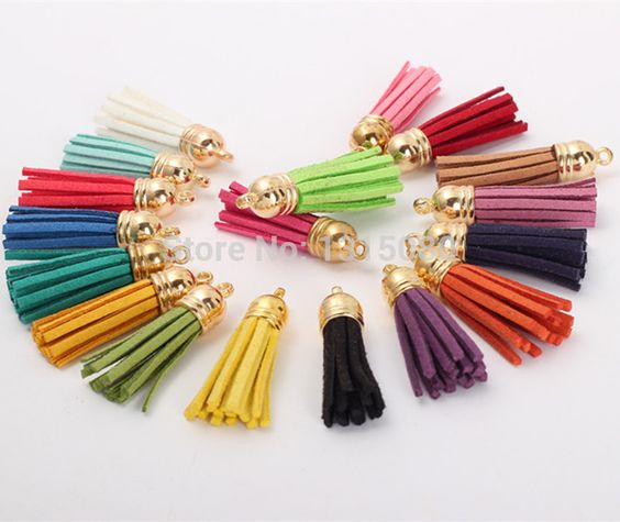 Free Shipping 100Pcs 35mm Mixed Suede Leather Jewelry Tassel For Key Chains/ Cellphone Charms Top Plated End Caps Cord Tip FL19: