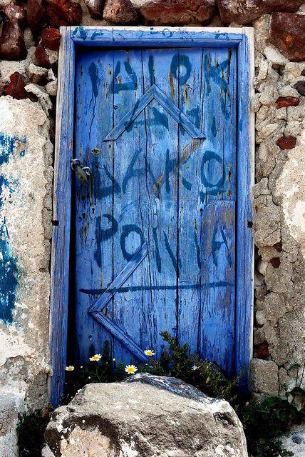 famous blue door, santorini