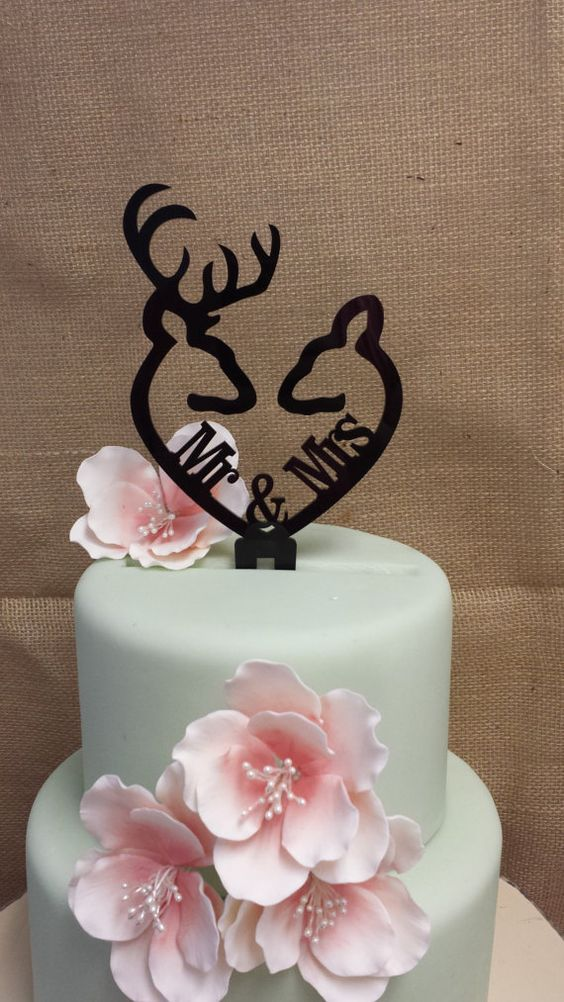Buck and Doe Heart Collection Mr & Mrs Buck Rustic cake topper wedding cake topper by SpectacularEvents