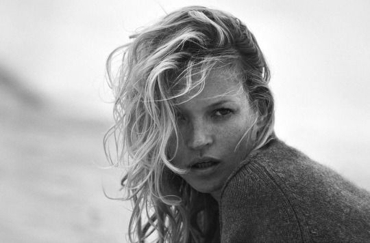 Kate Moss by Peter Lindbergh for Naked Cashmere, 2016