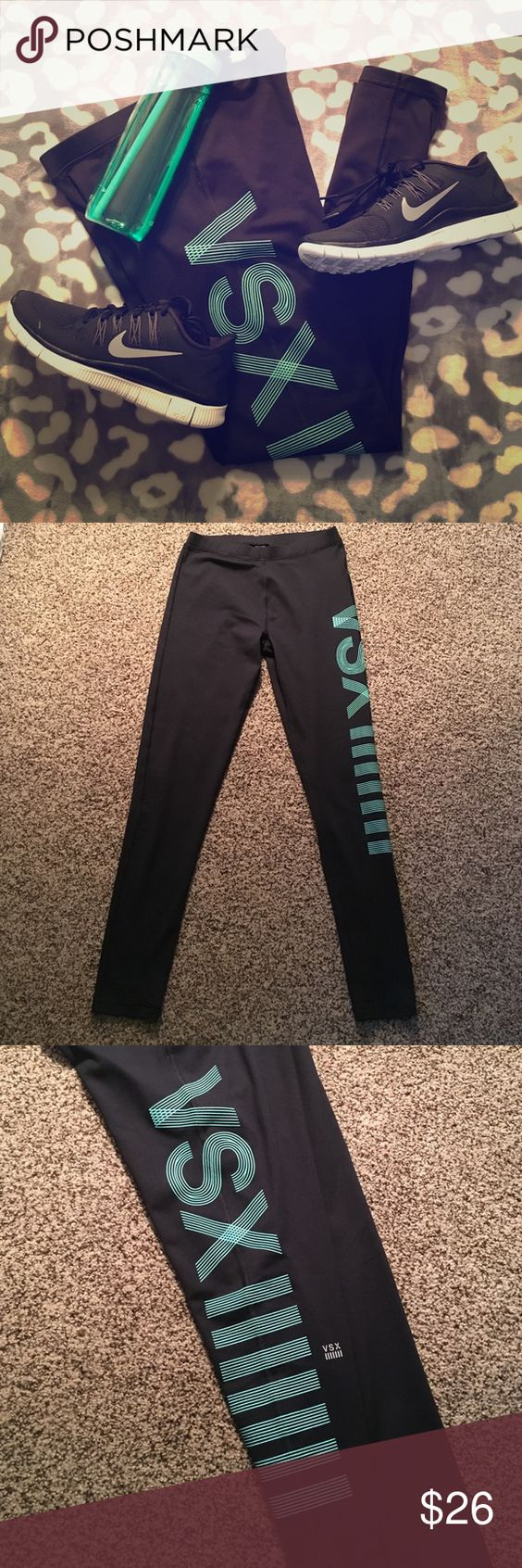 🆕 Victoria's Secret Sport leggings Head to the gym in style in these graphic printed Victoria's Secret Sport leggings. Light blue graphic down left leg and silver logo. Size small Short. Inseam measures 27 inches. Sneakers and water bottle NOT FOR SALE. EXCELLENT USED CONDITION. ✔️OPEN TO REASONABLE OFFERS✔️       🚫NO LOW BALLING🚫NO TRADING🚫 Victoria's Secret Pants Leggings