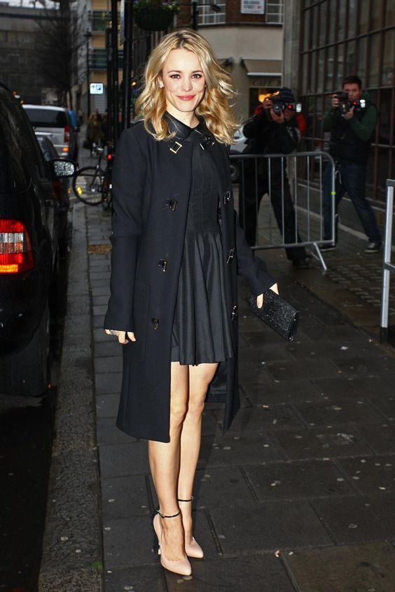 Ms. Rachel McAdams in a classic black trench:
