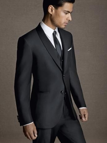 Dot-effect glossy wool/silk dinner #suit. Black two-button #jacket