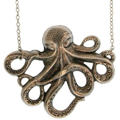 Octopus Necklace In Burnished Silver: Cora Hysinger: Jewelry http://womensjewelrynews.blogspot.com/ #Jewelry_Sets #Sterling #Gold #Necklaces #Pendants #jewelry #accessories #Ring #Diamond #love