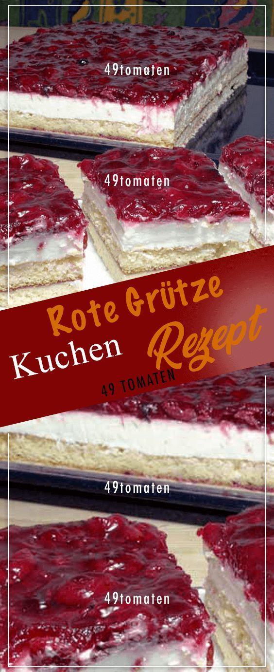 Dieser Fruchtige Rote Grutze Kuchen Besteht Aus Einer Knusprigen Dunnen Murbeteig Schicht Und Darauf Einem Lockeren Bisku Rote Grutze Kuchen Kuchen Rote Grutze