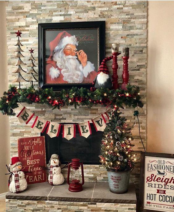 Easy Diy Christmas Mantel Decor Ideas For Your Fireplace Christmas Mantel Decorations Diy Christmas Mantel Easy Christmas Diy