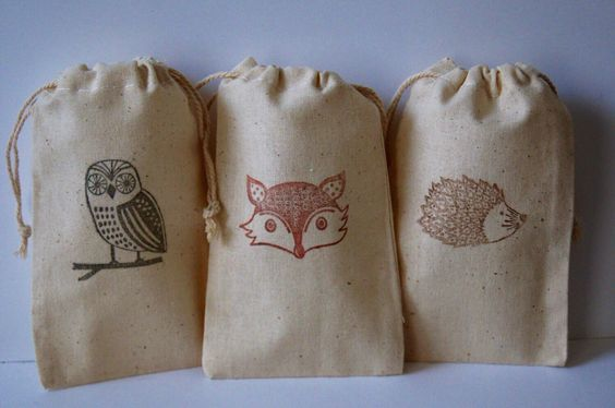 Woodland Owl, Fox & Hedgehog Muslin Favor Bags, Set of 12 of 3 Images (3x5 shown) by WithLoveAndInk on Etsy https://www.etsy.com/listing/225766738/woodland-owl-fox-hedgehog-muslin-favor