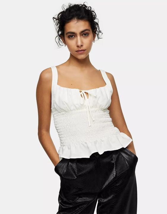 Topshop ruched tie front cami in cream