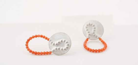 """linje"" earrings - silver and coral. by Bettina Goetsch"