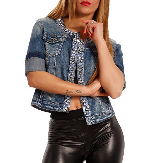 Blouson Damen Jeansjacke Jeans Jacket StrasssteinenFarbe OPZiuXTk
