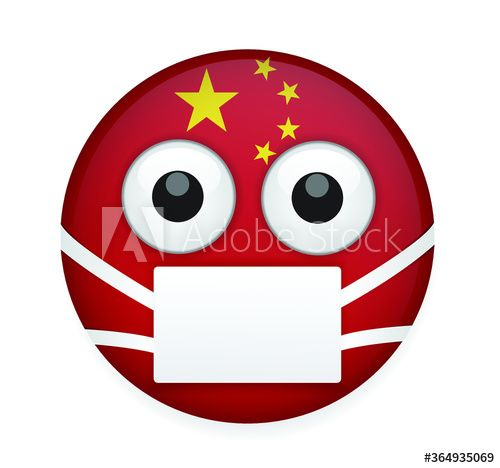 China Flag Face With Medical Mask High Quality Emoticon Vector On White Background Emoji Vector Flag Emoticon Flag Emoji Buy T In 2020 Flag Face China Flag Emoticon