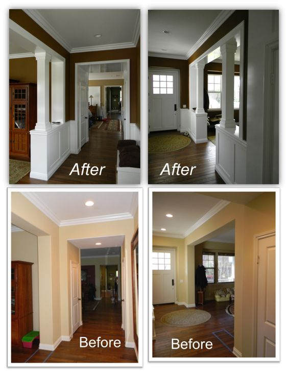Wainscot columns for stairs casa guthrie living for Family room columns