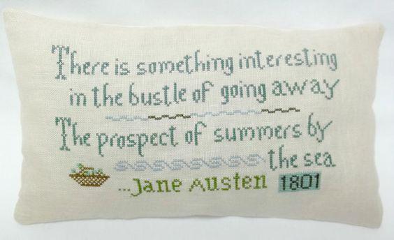 Jane Austen Summer Quote Cross Stitched Mini by luvinstitchin4u, $26.00
