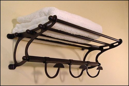 Oil Rubbed Bronze Paris Hotel Towel Rack Shelf With Hooks 20