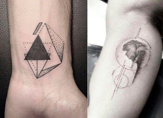 As tatuagens masculinas com elementos geométricos viraram tendência. Confira algumas ideias!: