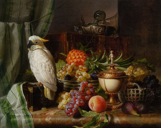 """Josef Schuster (Austrian,1812–1890)  """"A Cockatoo Grapes Figs Plums a Pineapple and a Peach"""" (1851)"""