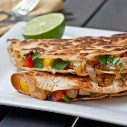 Chicken, Caramelized Onion and Mango Quesadillas
