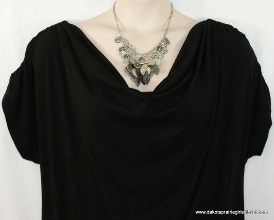 Maurices Plus Size 2 Top Knit Black Drape Neck Dolman Short Sleeves Rhinestones