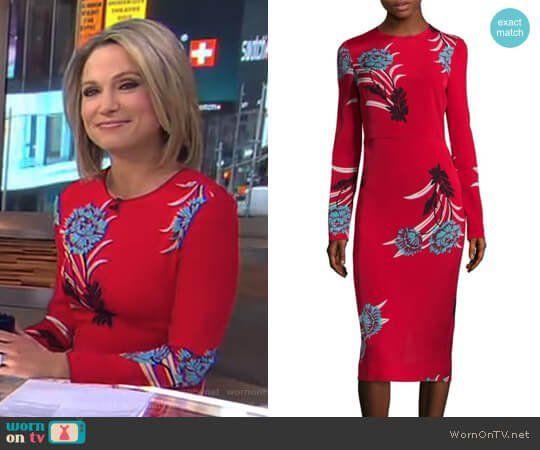 Diane Von Furstenberg Floral Sheath Dress Dresses Red Floral