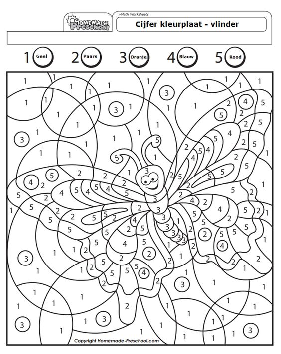 cijfer kleurplaat preschool vlinder