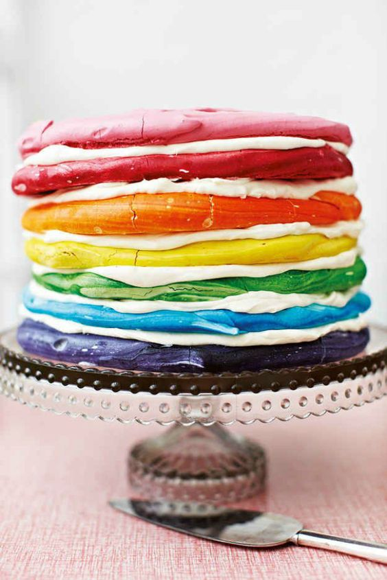 Make a special treat for your next party with this Rainbow Meringue Cake dessert recipe.