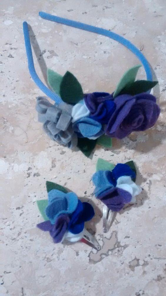 Tiara e fivelas com flores em feltro