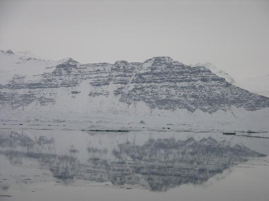 looking up at glacier from lagoon