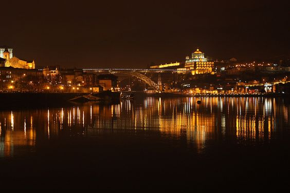 Douro river, Gaia and Porto by night.