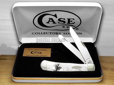 CASE XX White Pearl Deer Scene Trapper Pocket Knives